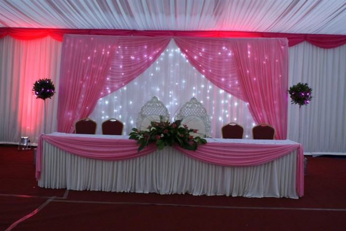 Venue decoration flower arrangements sgg promotions for Hall decoration design